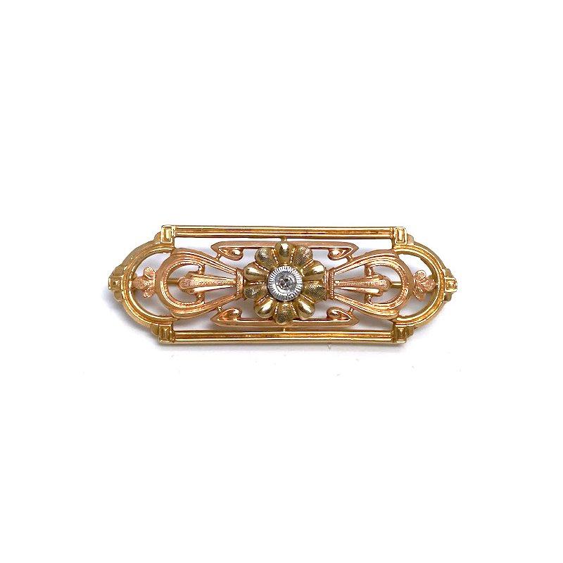 Estate & Vintage Lady's vintage diamond, rose and yellow gold bar pin
