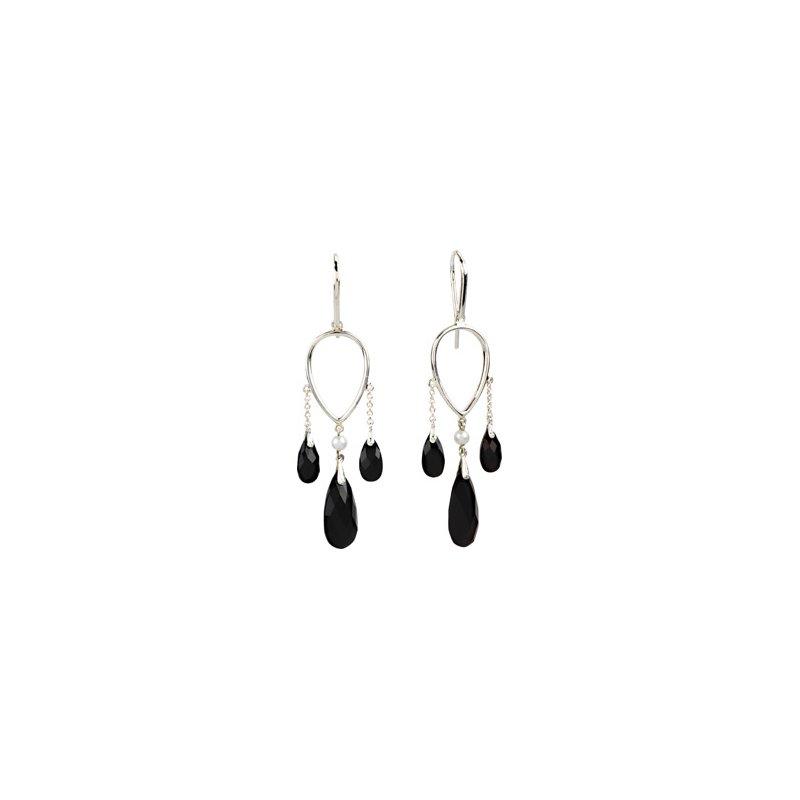 Holiday Ideas Genuine Onyx & Freshwater Pearl Earrings