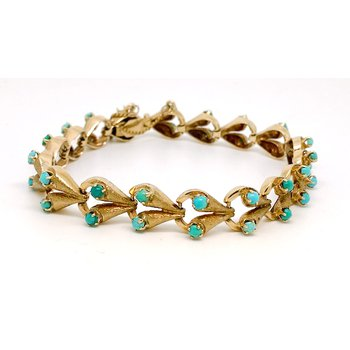 Lady's Art Deco design, turquoise and yellow gold, bracelet