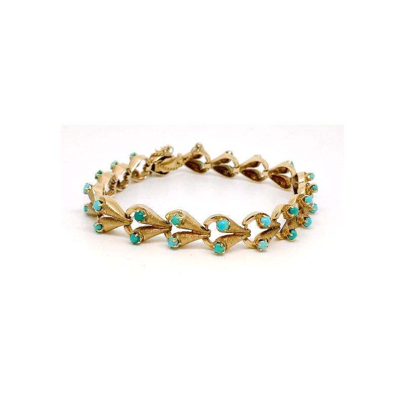 Estate & Vintage Lady's Art Deco design, turquoise and yellow gold, bracelet