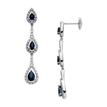 Genuine Blue Sapphire & Diamond Earrings