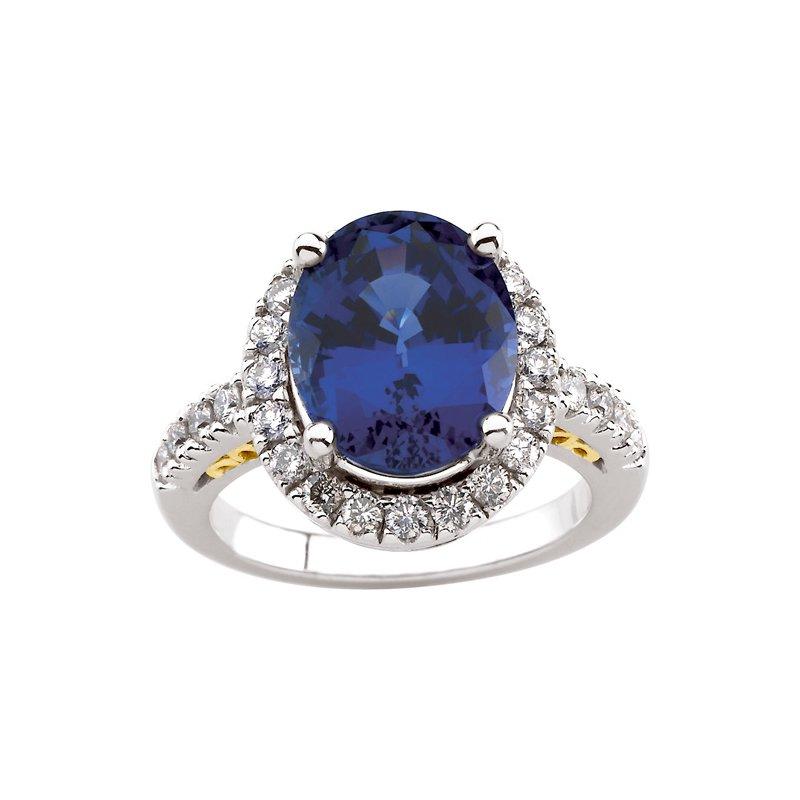 Ladies' Jewelry Chatham Created Sapphire & Diamond Ring