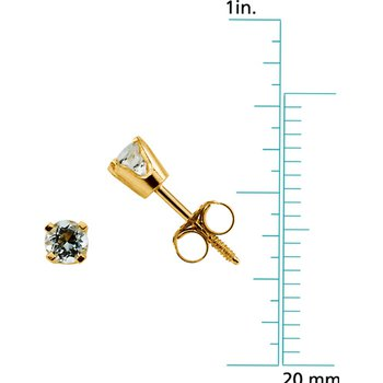 Children's Genuine Aquamarine March Birthstone Earrings