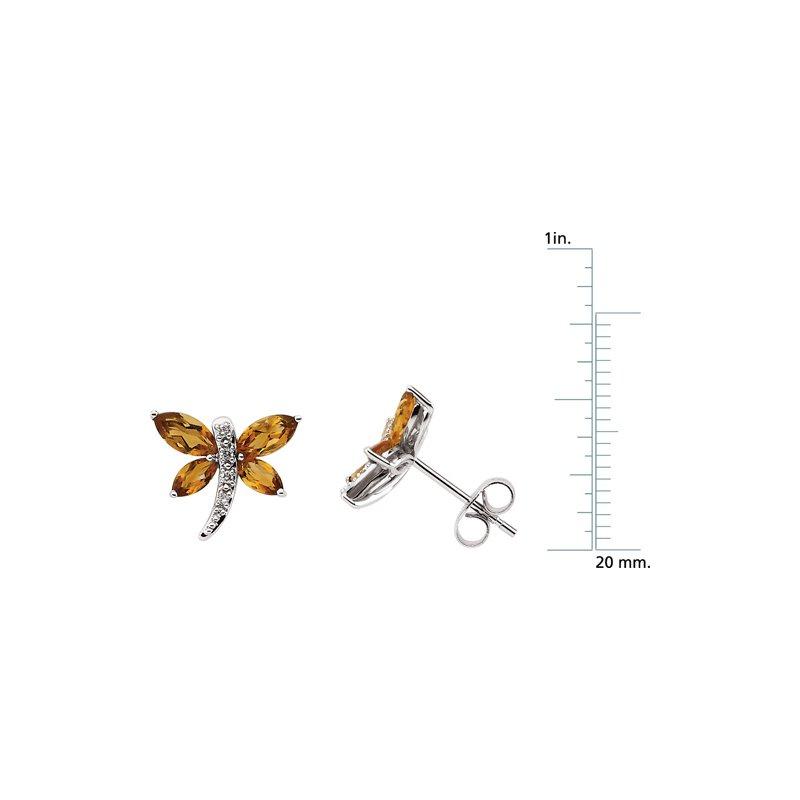 Ladies' Jewelry Genuine Citrine & Diamond Dragonfly Earrings