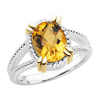 Sterling Silver & 14kt yellow Citrine Ring