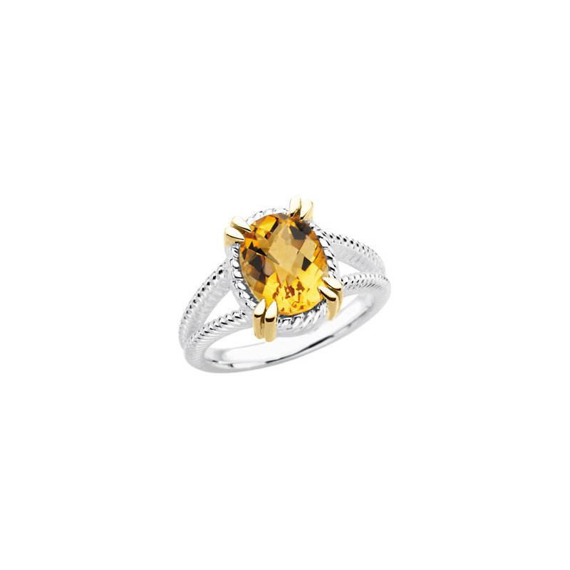 Holiday Ideas Sterling Silver & 14kt yellow Citrine Ring