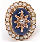 Estate & Vintage Lady's vintage red stone, pearl, diamond and yellow gold, cocktail ring