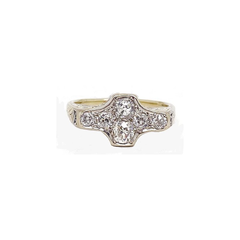 Vintage Bridal Diamond and Yellow Gold, Vintage Style Ring