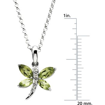 Genuine Peridot & Diamond Dragonfly Necklace