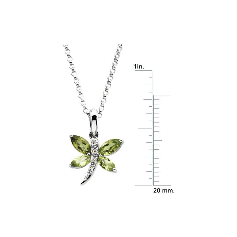 Ladies' Jewelry Genuine Peridot & Diamond Dragonfly Necklace