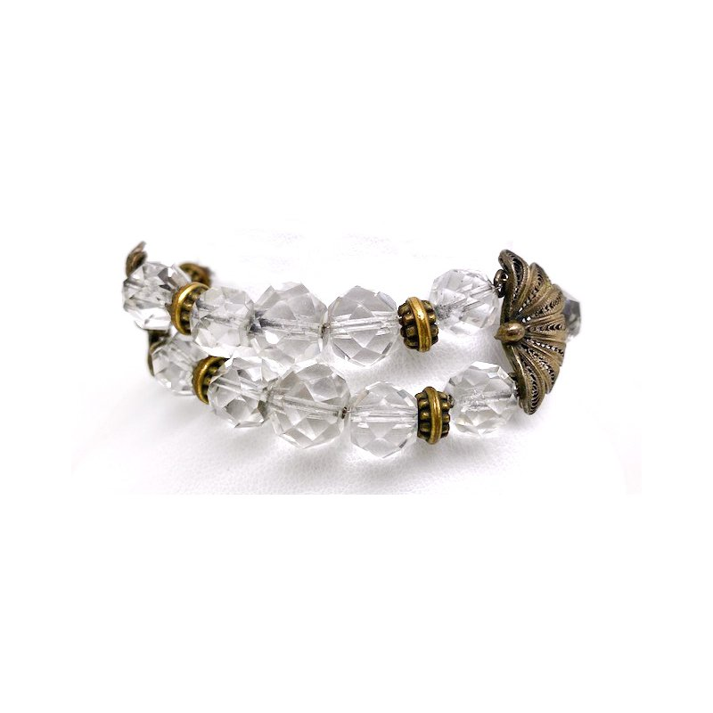 Estate & Vintage Lady's vintage crystal bracelet with a flower motif