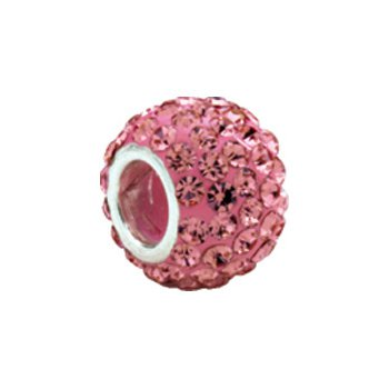 Kera Roundel Bead with Pave' Rose Crystals