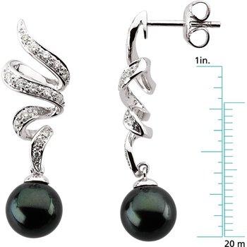 Akoya Black Cultured Pearl & Diamond Earrings