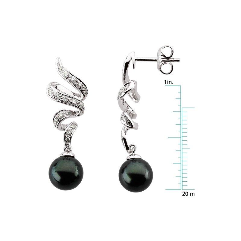 Ladies' Jewelry Akoya Black Cultured Pearl & Diamond Earrings