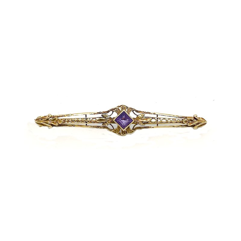 Estate & Vintage Lady's vintage Art Deco style amethyst and yellow gold bar pin