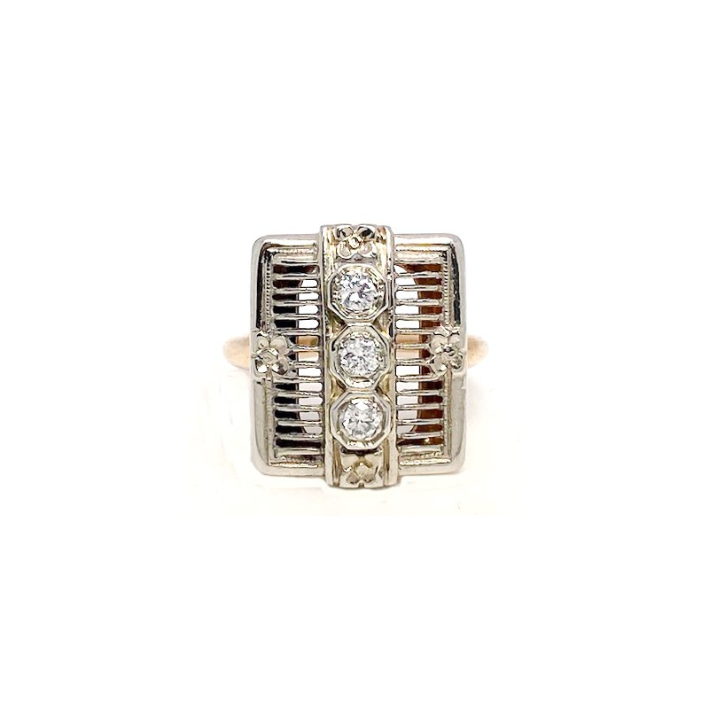 Estate & Vintage Lady's vintage Art Deco style two-toned and diamond ring