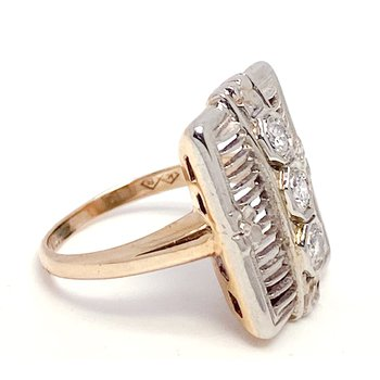 Lady's vintage Art Deco style two-toned and diamond ring