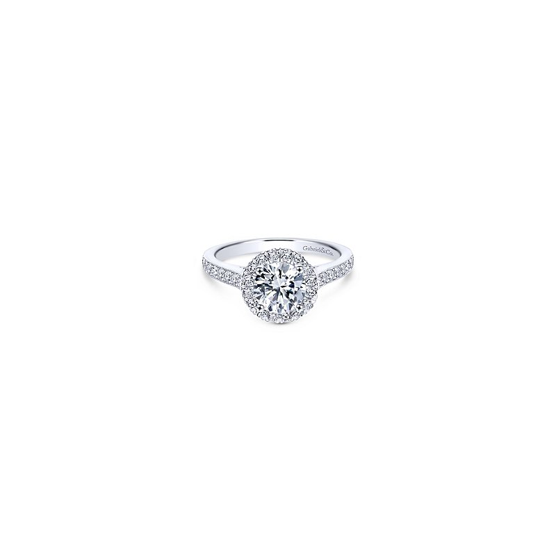 Gabriel Bridal Vintage Inspired 14K White Gold Round Halo Diamond Engagement Ring
