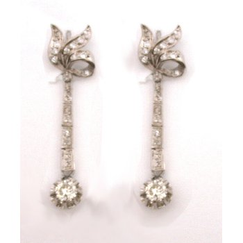 White and Diamond Dangle Earrings