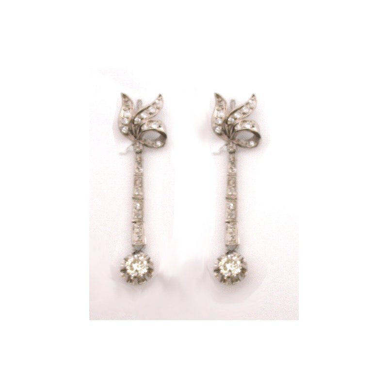 Estate & Vintage White and Diamond Dangle Earrings