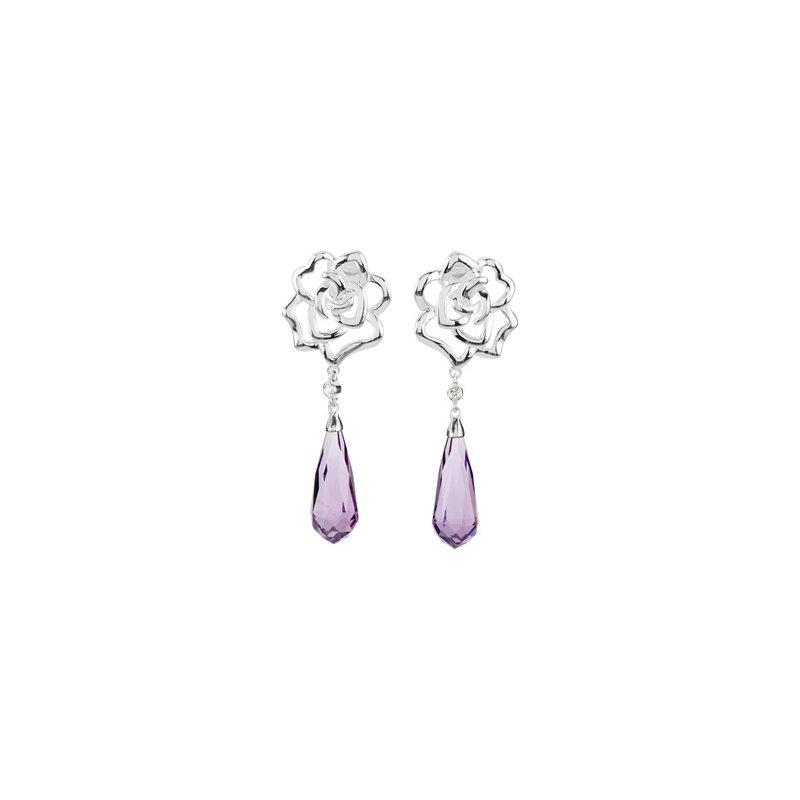 Holiday Ideas Genuine Amethyst Briolette & Diamond Earrings