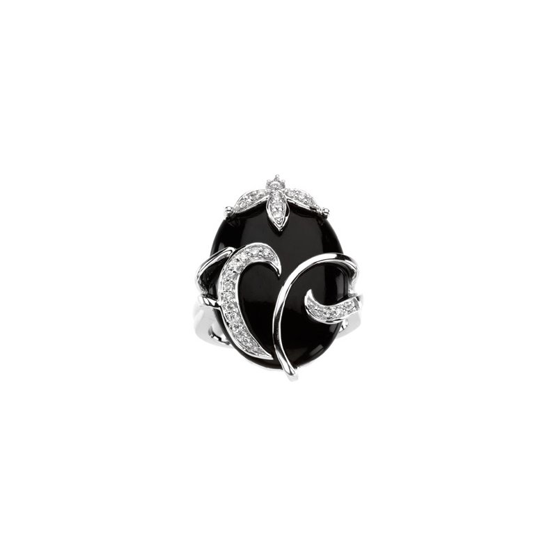 Holiday Ideas Genuine Onyx & Diamond Ring