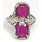 Estate & Vintage Lady's vintage synthetic ruby, diamond and white gold ring