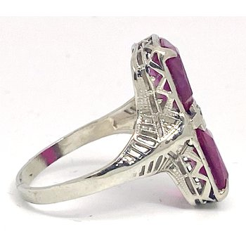 Lady's vintage synthetic ruby, diamond and white gold ring