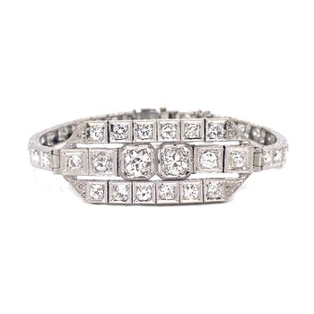 Lady's Art Deco design diamond and platinum, plaque bracelet
