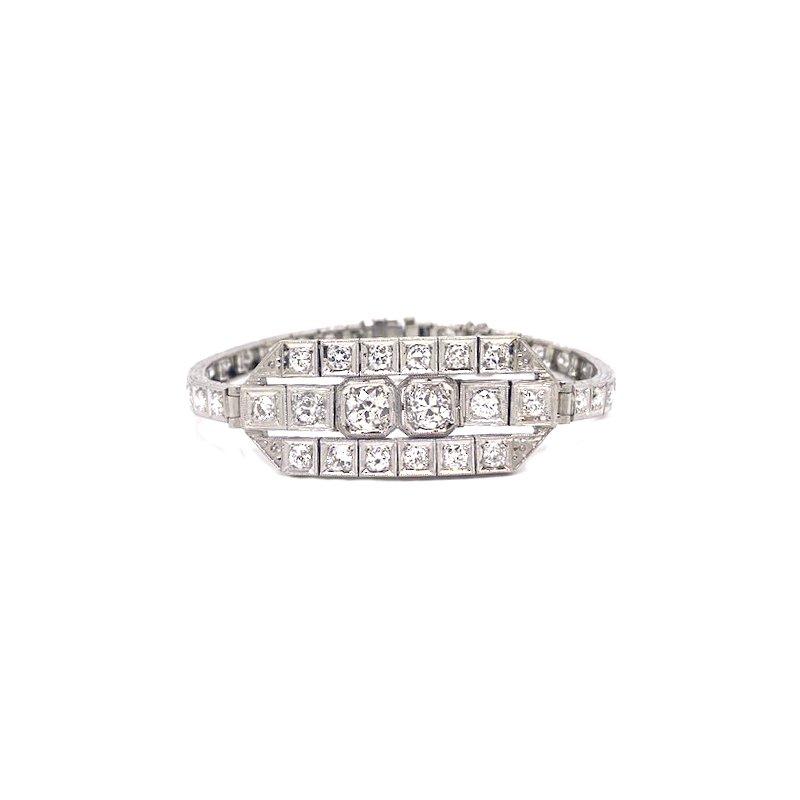 Estate & Vintage Lady's Art Deco design diamond and platinum, plaque bracelet