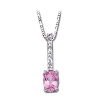 Genuine Pink Sapphire & Diamond Necklace