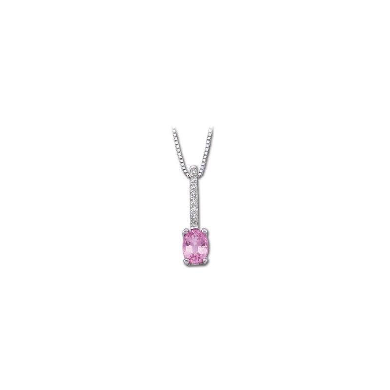 Holiday Ideas Genuine Pink Sapphire & Diamond Necklace