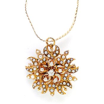 Lady's Victorian design, diamond, seed pearl, and yellow gold necklace, designed in the shape of a star