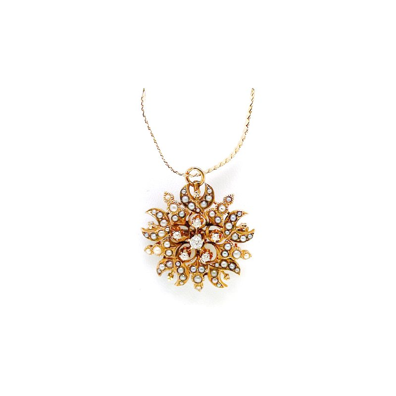 Estate & Vintage Lady's Victorian design, diamond, seed pearl, and yellow gold necklace, designed in the shape of a star