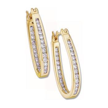 1/2 ct tw Diamond Inside-Outside Hoop Earrings