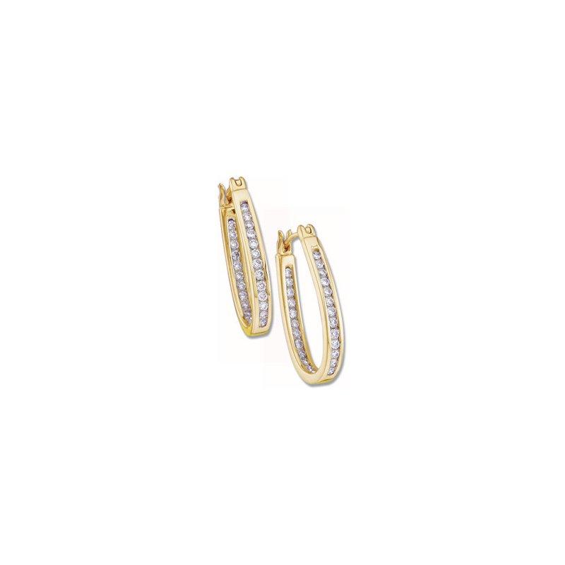 Ladies' Jewelry 1/2 ct tw Diamond Inside-Outside Hoop Earrings