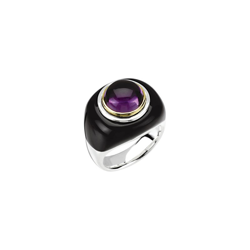 Holiday Ideas Genuine Onyx & Amethyst Dome Ring