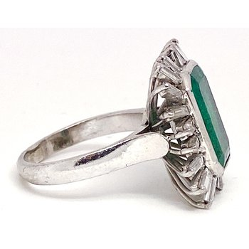 Lady's vintage emerald, diamond and white gold ring