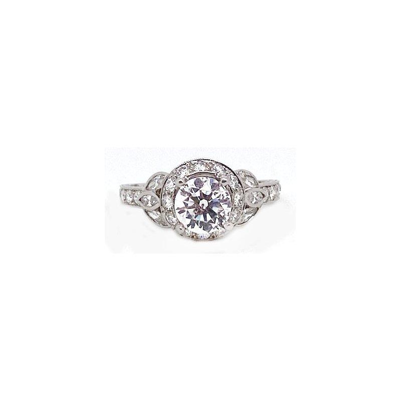 Vintage Bridal Diamond and Platinum, New, Vintage Style Engagement RingMounting
