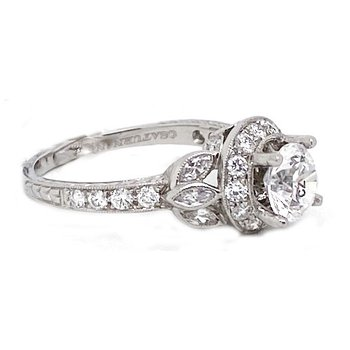Diamond and Platinum, New, Vintage Style Engagement RingMounting