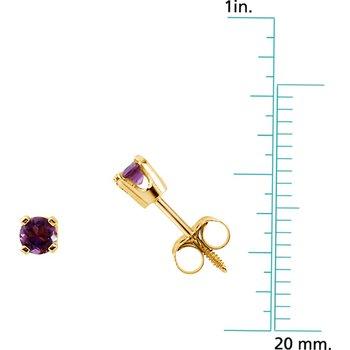 Children's Genuine Amethyst February Birthstone Earrings