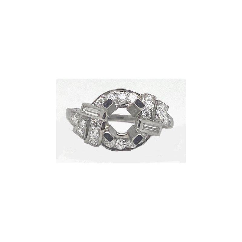 Vintage Bridal Platinum and Diamond, New Vintage Reproduction Mounting