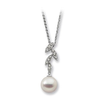 Freshwater Cultured Pearl & Diamond Necklace