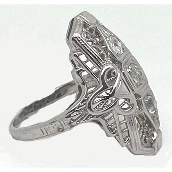 Diamond and White Gold, Art Deco Style Ring