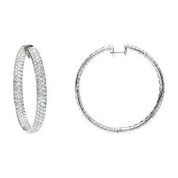 12 1/4 ct tw Diamond Inside/Outside Hoop Earrings