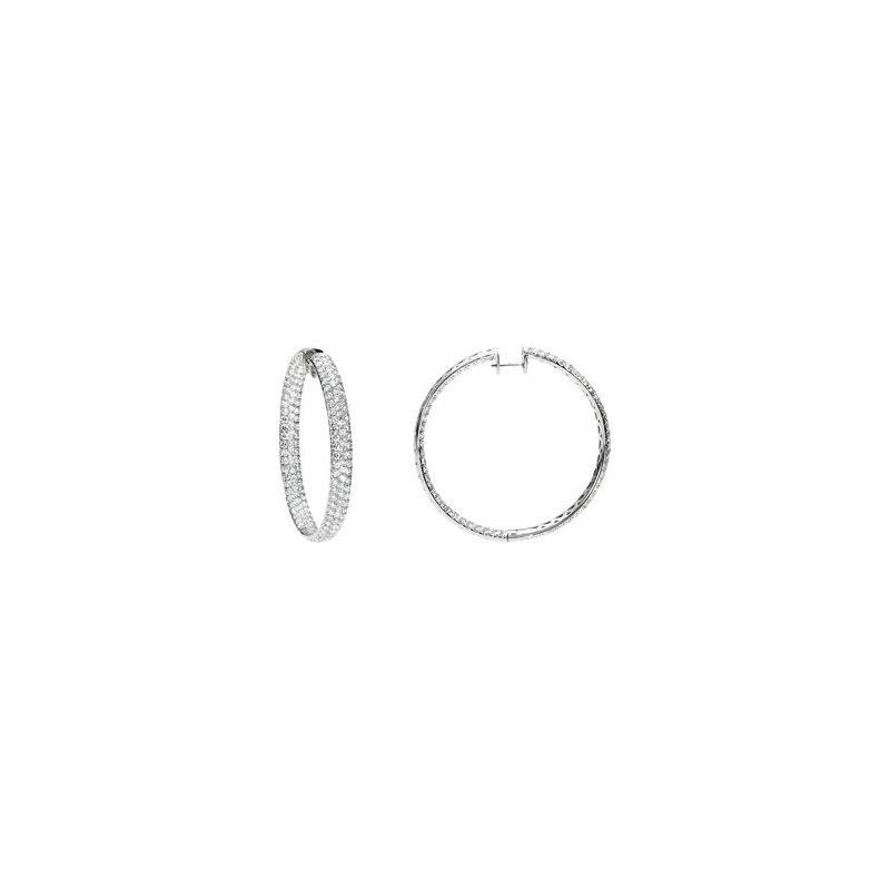 Holiday Ideas 12 1/4 ct tw Diamond Inside/Outside Hoop Earrings
