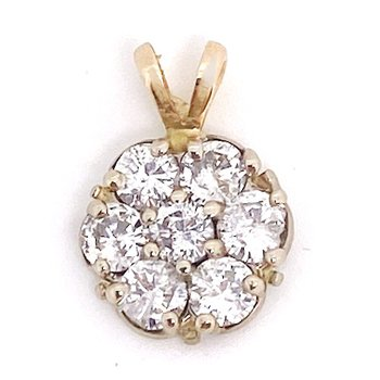 Lady's vintage diamond and yellow cluster pendant