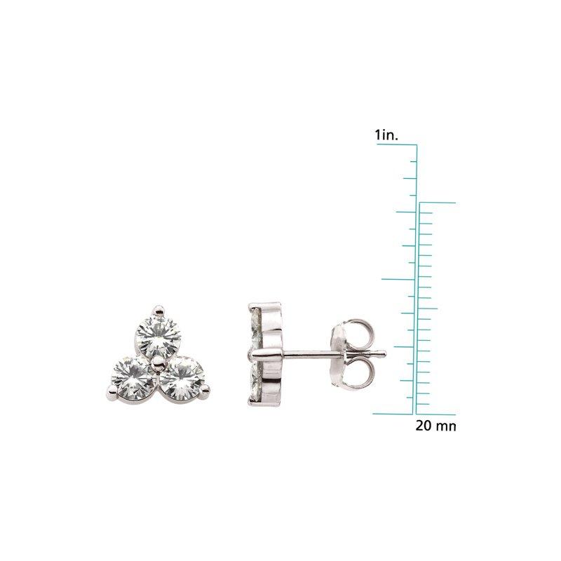 Ladies' Jewelry Moissanite 3-Stone Stud Earrings