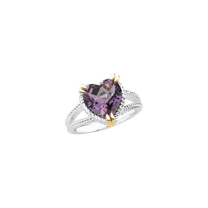 Ladies' Jewelry Genuine Checkerboard Amethyst Heart Topaz Ring