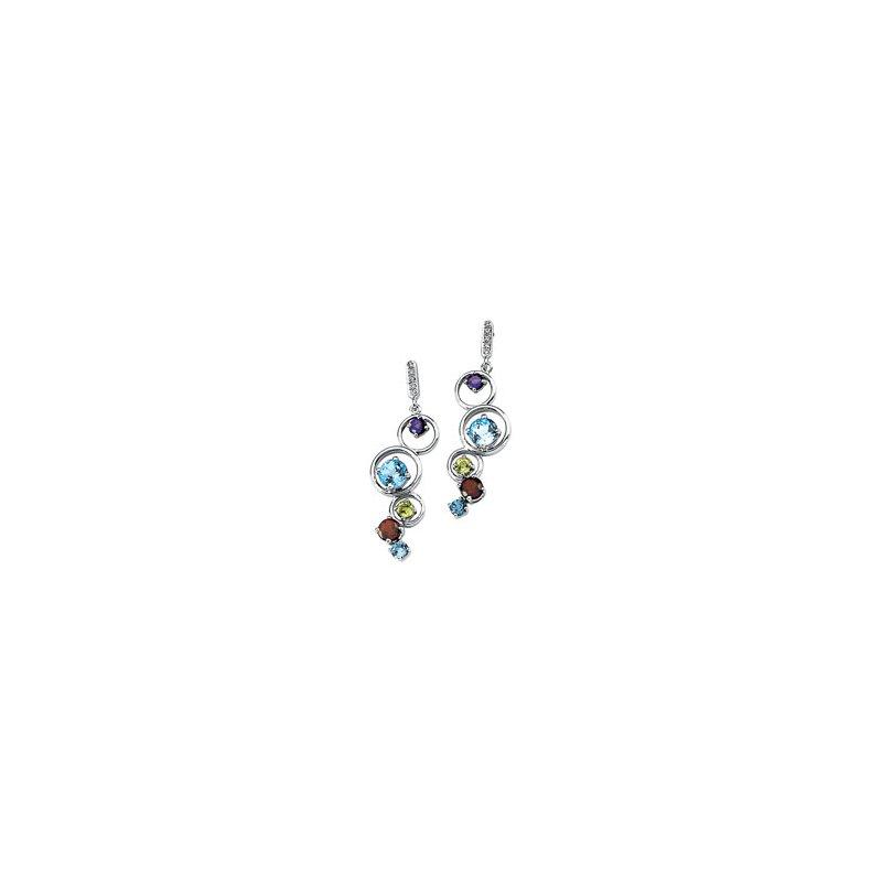 Ladies' Jewelry Genuine Multi Gem-stone & Diamond Earrings